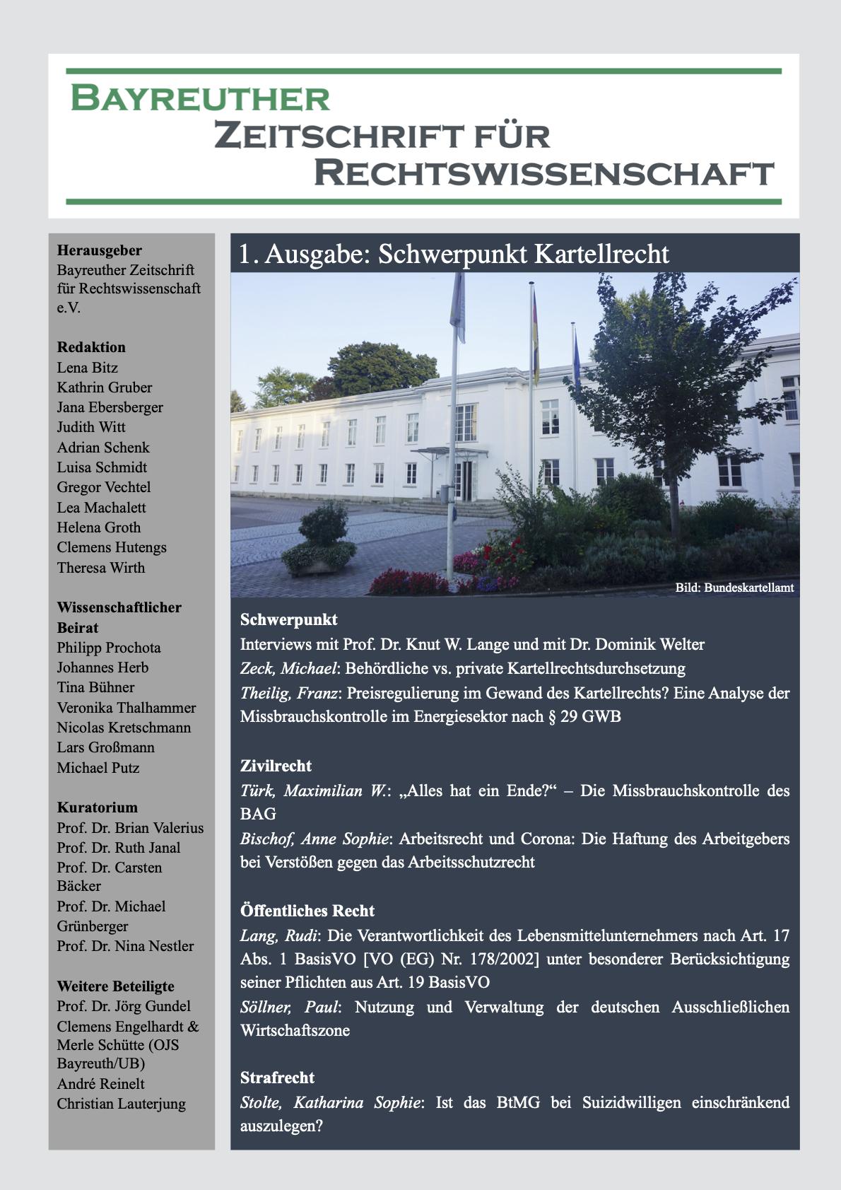 BayZR – Bayreuther Zeitschrift für Rechtswissenschaft –1. Ausgabe